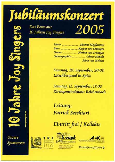 Joy Singers - Jubiläumskonzert - September 2005